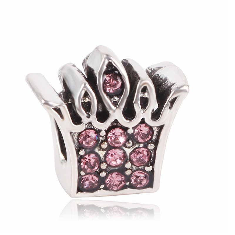 Ranqin 925 Color plata carroza de calabaza de Cenicienta Europea encanto Corona se adapta Original Pandora encanto pulsera mujeres regalo