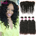 Brazilian Deep Wave With Lace Frontal Closure Deep Curly Brazilian Hair Weave Bundles 8a Grade Curly Frontal With 4 Bundles 1B