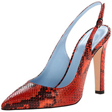 Red Snakeskin Pointed Toe Dress Shoes Sandals Women Back Strap Women Pumps 2015 New Fashion Stiletto Heel Open Heel Printed