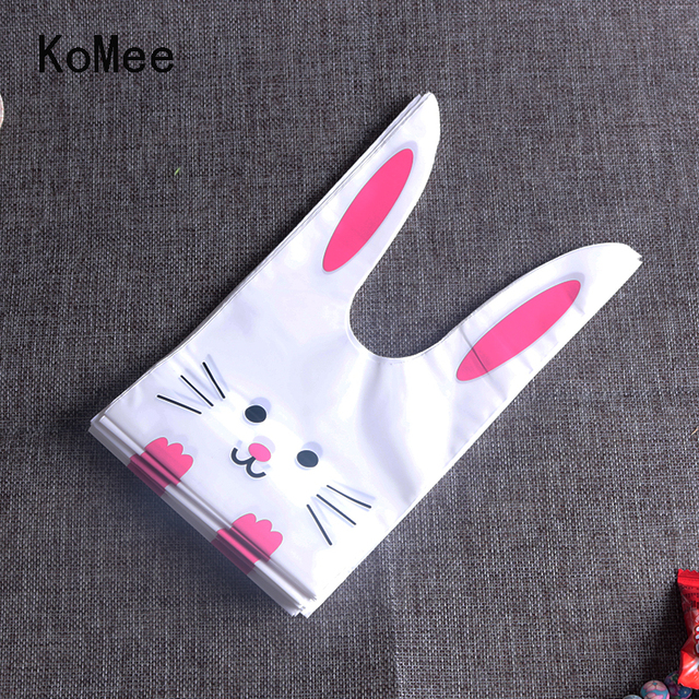 Cute easter bunny cookie bag 100pcslot wedding decoration kawaii cute easter bunny cookie bag 100pcslot wedding decoration kawaii rabbit ear plastic candy gift negle Images