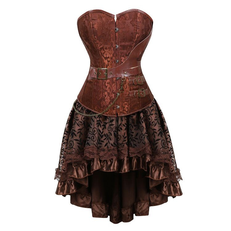 Gothic Steampunk Corset Dress Leather Overbust Corsets And Bustiers Skirt Pirate Party Plus Size Women's Sexy Brown Burlesque