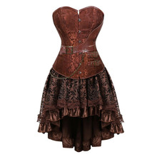 Gothic Steampunk Corset Dress Leather Overbust Corsets and Bustiers Skirt Pirate Party Plus Size Womens Sexy Brown Burlesque