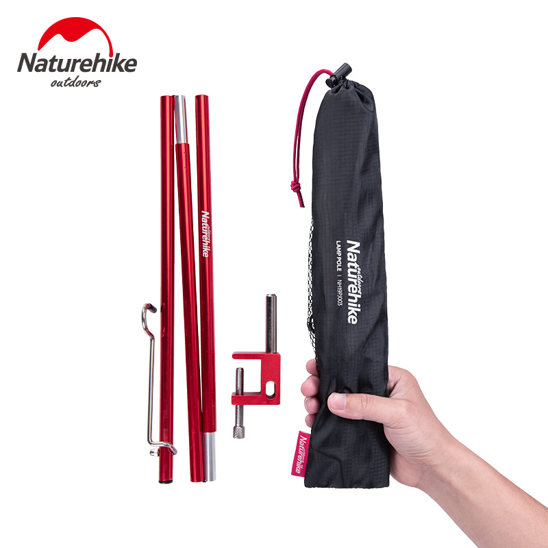 Naturehike Portable Folding Lamp Pole Ultralight Hiking Camping Aluminum Alloy Small Light Pole Travel Picnic 230g