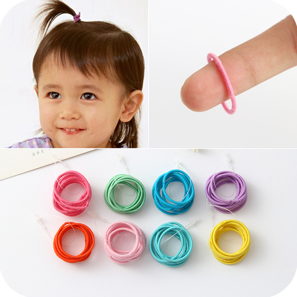 Chyko 10pcs/lot Colorful Elastic Hair Bands Girls Mini Ring Hair Tie Gum Kids Rubber Bands Hair Ponytail Holder Accessories