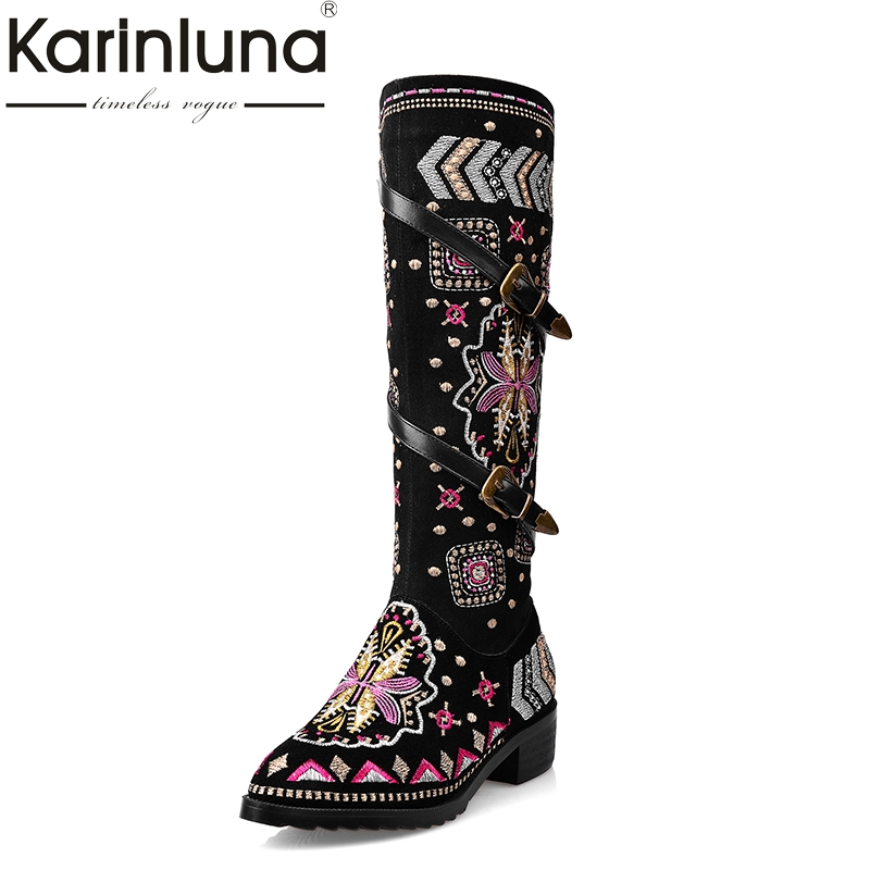 KAIRNLUNA Top Quality Large Size 33-43 Winter Riding Boots Ethnic Style Embroidery Cow Suede Genuine Leather Woman Shoes BucklesKAIRNLUNA Top Quality Large Size 33-43 Winter Riding Boots Ethnic Style Embroidery Cow Suede Genuine Leather Woman Shoes Buckles