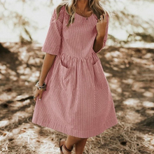 Casual O Neck Dress Striped Half Sleeve Party Dress Women Summer Pockets Knee Pink Black Sundress Plus Size Dress Simple Style simple style sleevelessu neck loose fitting black dress for women