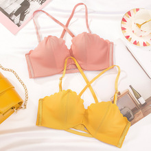 JYF New Candy Colors Lovely Sexy Bra Sets One-Piece Seamless Women Underwear and 1/2 B Cup Comfortable Hollow Push Up Bra Set jyf new candy colors lovely sexy bra sets one piece seamless women underwear and 1 2 b cup comfortable hollow push up bra set