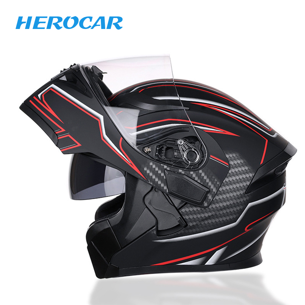 Motorbike Helmet Flip Up Motorcycle Helmet With Inner Safety Sun Visor Double Lens Modular Motocross Full