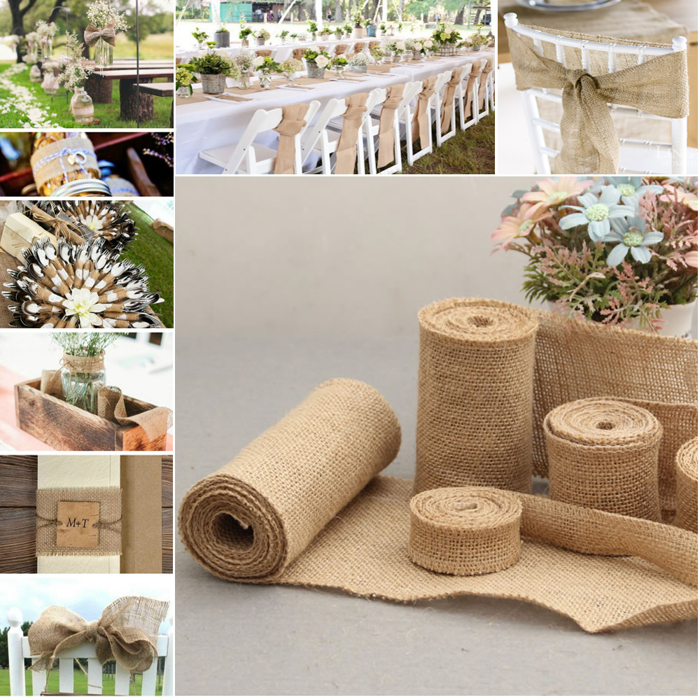 Natural jute hessian burlap ribbon rustic diy wedding for Diy jute