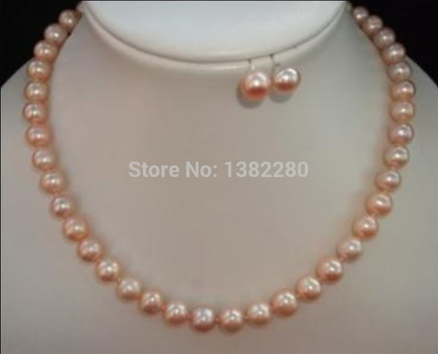 Keshi Women Gift Word Love Jewelry 8 9mm Pink Pearl Necklace And Earring Set 18inch