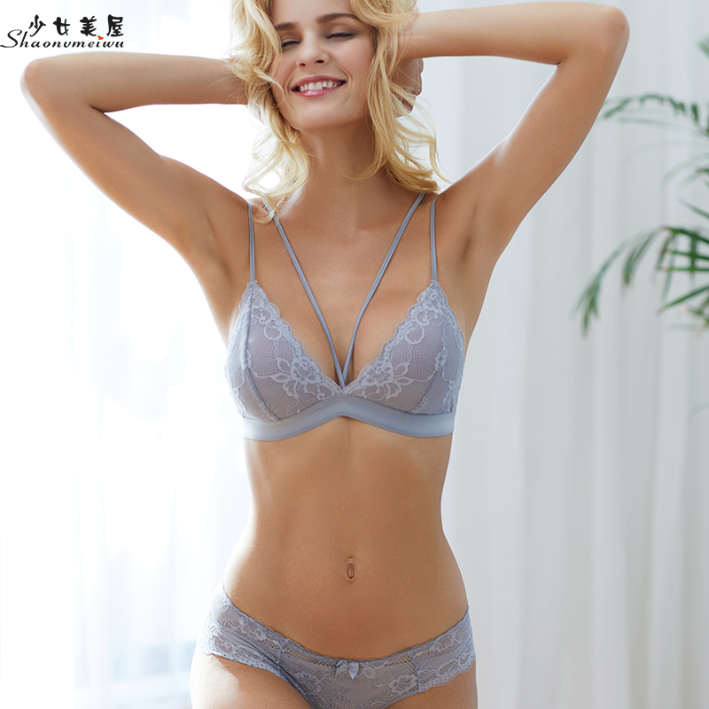Sexy Lace Ultra Thin Type Underwear Bra Belt Triangle Cup Does Not Have The Steel Ring Does Not Have The Sponge