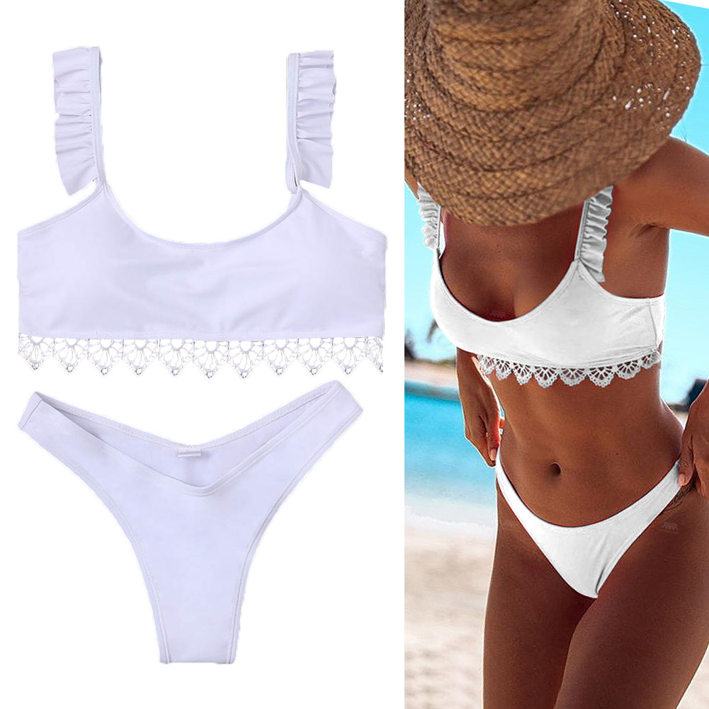 Ladies Split Swimwear Set Solid Color White Lace Bikini Briefs Swimsuits for Beach DX88