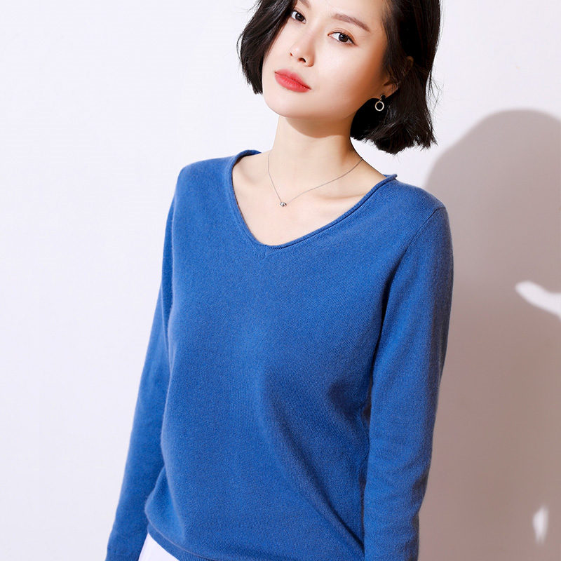 Litvriyh spring pure cashmere sweater women sweaters and pullover long sleeve v-neck soft female natural health knitted
