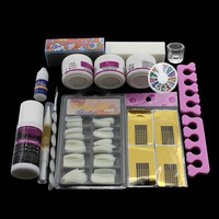 Pro Full Pro Nail Art Tips Kit DIY Acrylic Nail Liquid Powder Nail Art Tool Set UV Gel Tips Kit Set
