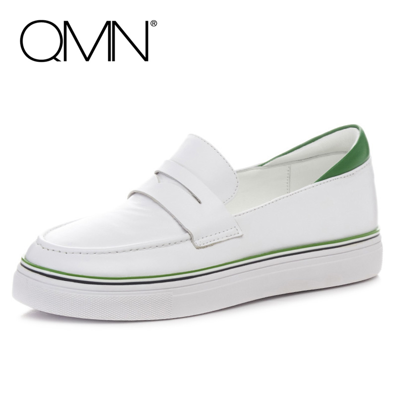 QMN women genuine leather flats Women Round Toe Penny Loafers Slip On Leisure Shoes Woman Platform Flats Size 34-39  qmn women genuine leather flats women horsehair loafers retro square toe slip on flat platform shoes woman creepers 34 42