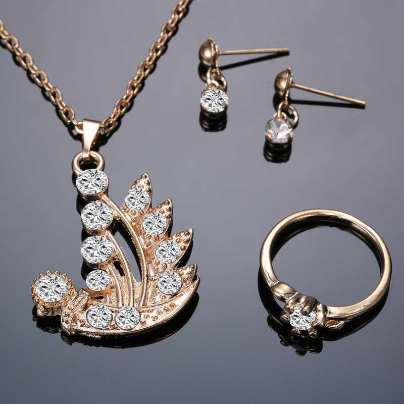 Feminino conjunto de jóias de cristal de ouro planta pingente colar brinco conjunto de jóias de flor conjunto