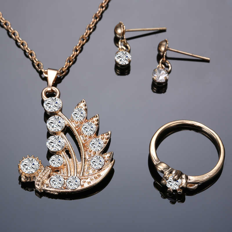 Women Jewelry Set Crystal gold Plant Pendant Necklace Earring Ring Set flower jewelry set