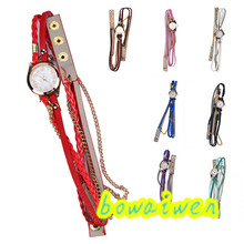 bowaiwen #0075 Woman watches Leather Strap Braided winding Rivet Bracelet Watches Wristwatch lady girl gift wholesale