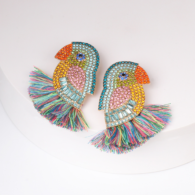 JUJA new design good quality fashion women statement full crystal parrot bird drop earrings 4