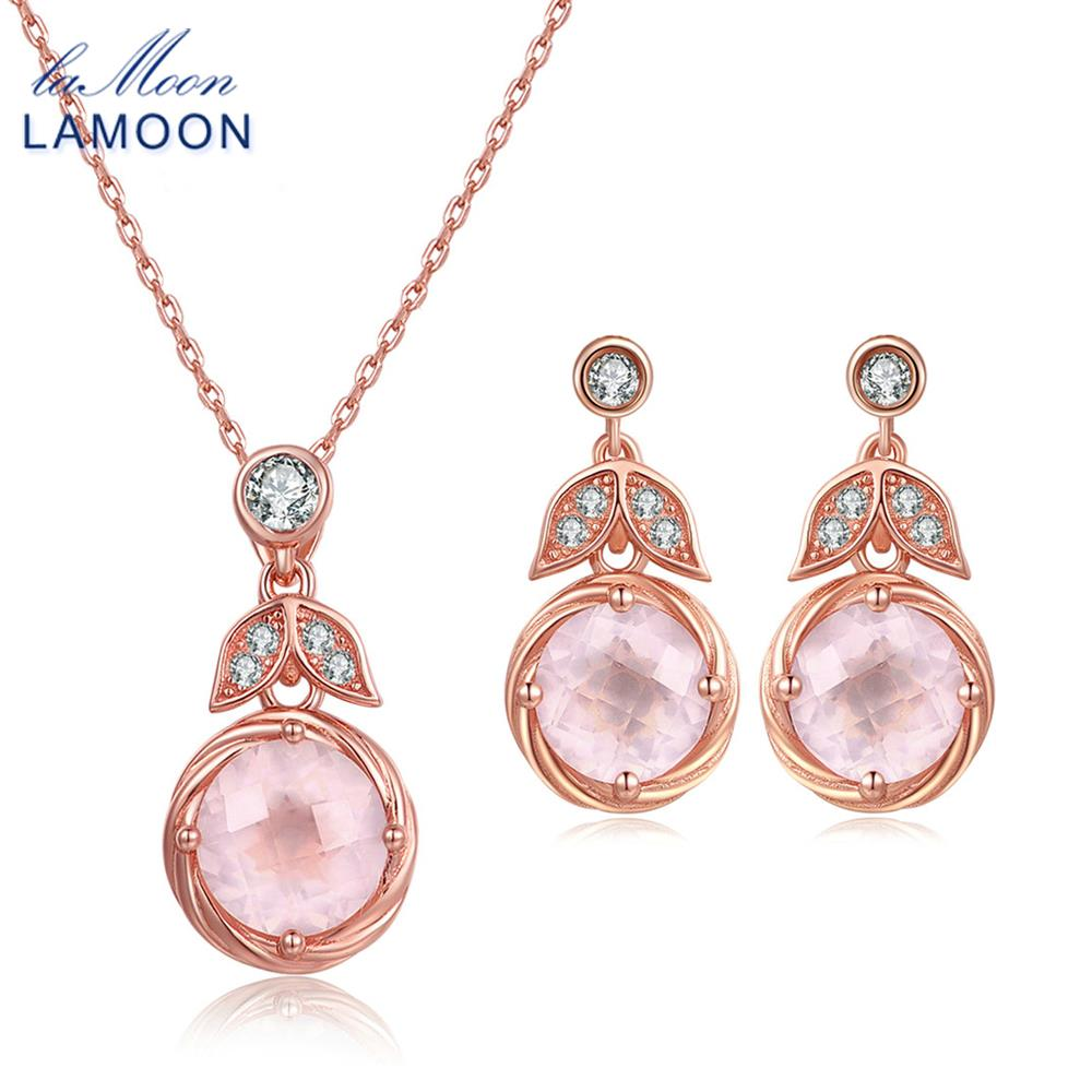 LAMOON classic flower 100% Natural Pink Rose Quartz 925 Sterling Silver Jewelry Drop Earrings S925 V023-2