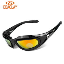 check price OBAOLAY C5 Polarized Cycling Goggles 4 Lens Army Military Sunglasses Kit Men's Desert Sport Polarized Tactical Glasses Sale Best Quality