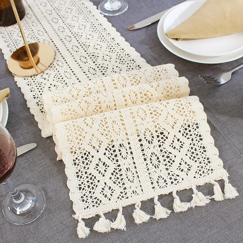 Beige Crochet Lace Table Runner With Tassel Cotton Wedding Decor