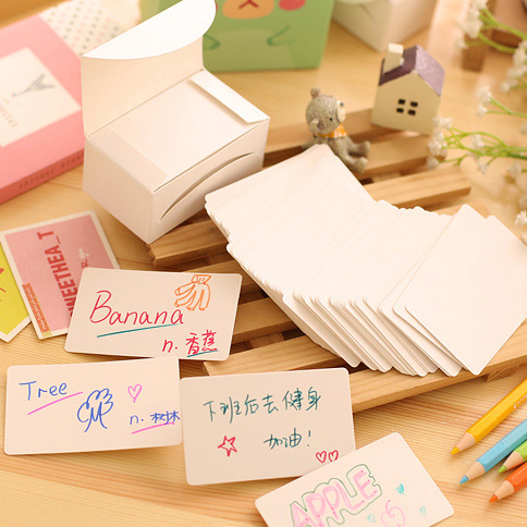 Diy 100 Retro White Cardboard Message Card Sticky <font><b>Notes</b></font> Planner Stickers Event Party Supplies <font><b>Postit</b></font> Escritorio Diary Sticker image