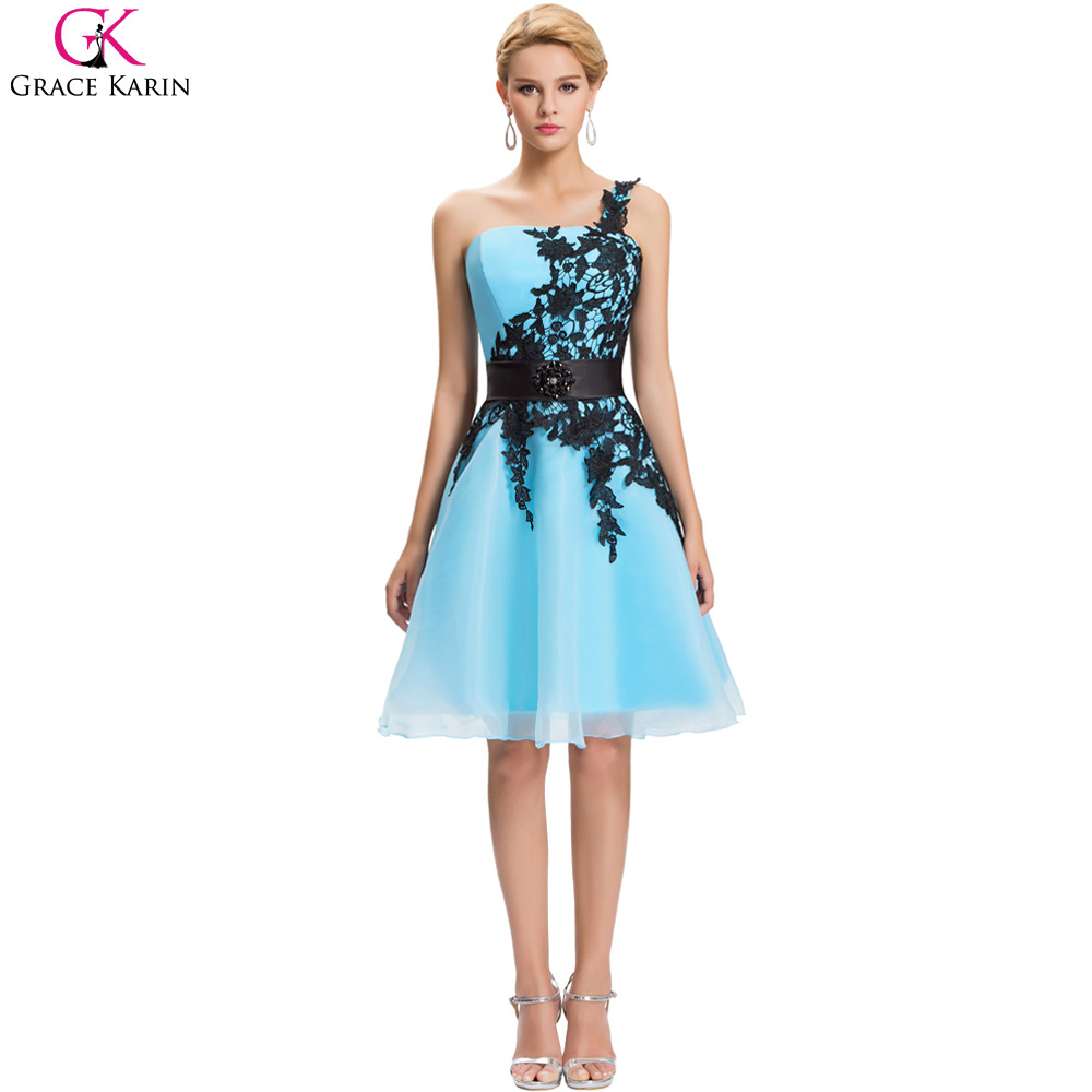 Grace Karin Short Cocktail Dress White Blue Pink Black Lace Knee Length One Shoulder Formal