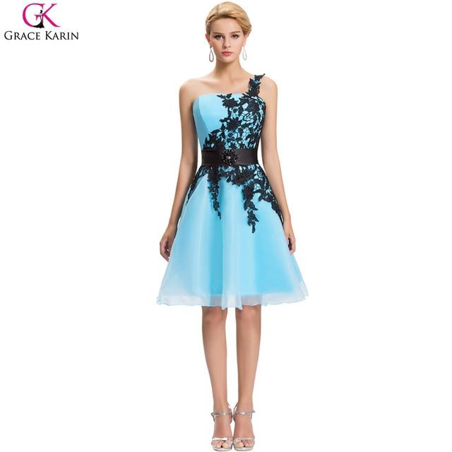 4a109422a Gracia Karin Vestido de Coctel Corto Blanco Azul Rosa de Encaje Negro Hasta  La Rodilla de