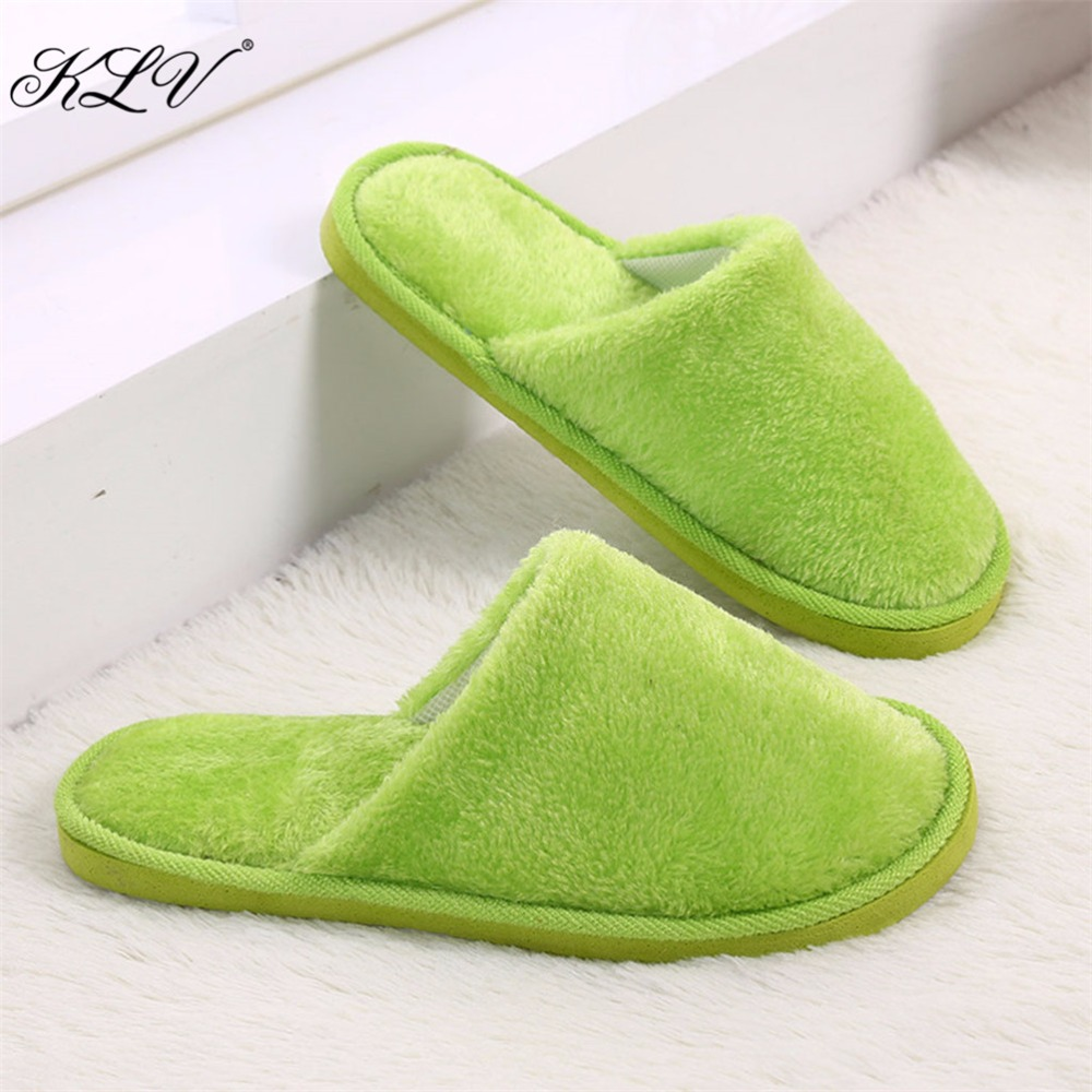 KLV Hot Selling Women Men House Indoor Slippers Home Anti slip Shoes Soft Warm Cotton Sandal