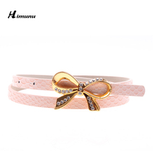 Retail Inlaid rhinestone butterfly buckle Thin Female Belts for Women Ms. clothing Cummerbunds Fashion dress Girdles Color Pink