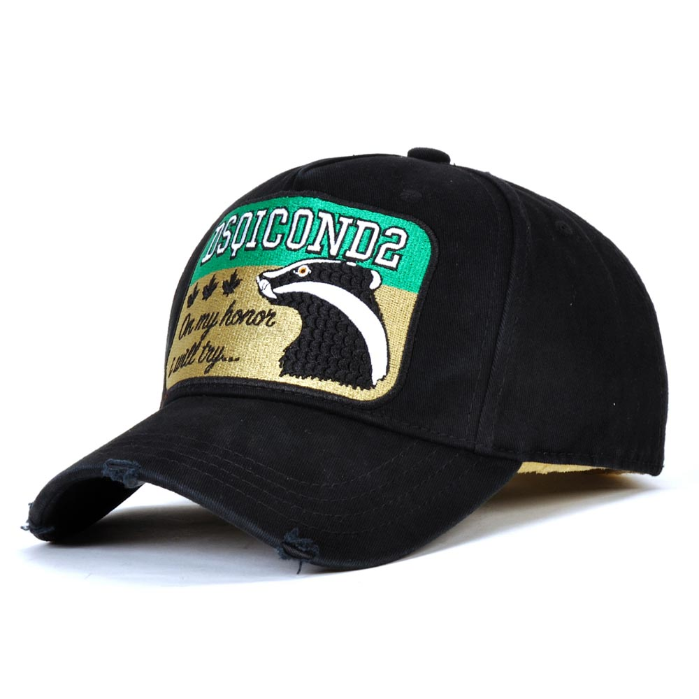 DSQICOND2 Embroidery Hat High-Quality Baseball-Caps Black Cap Letters Cap Men Animal