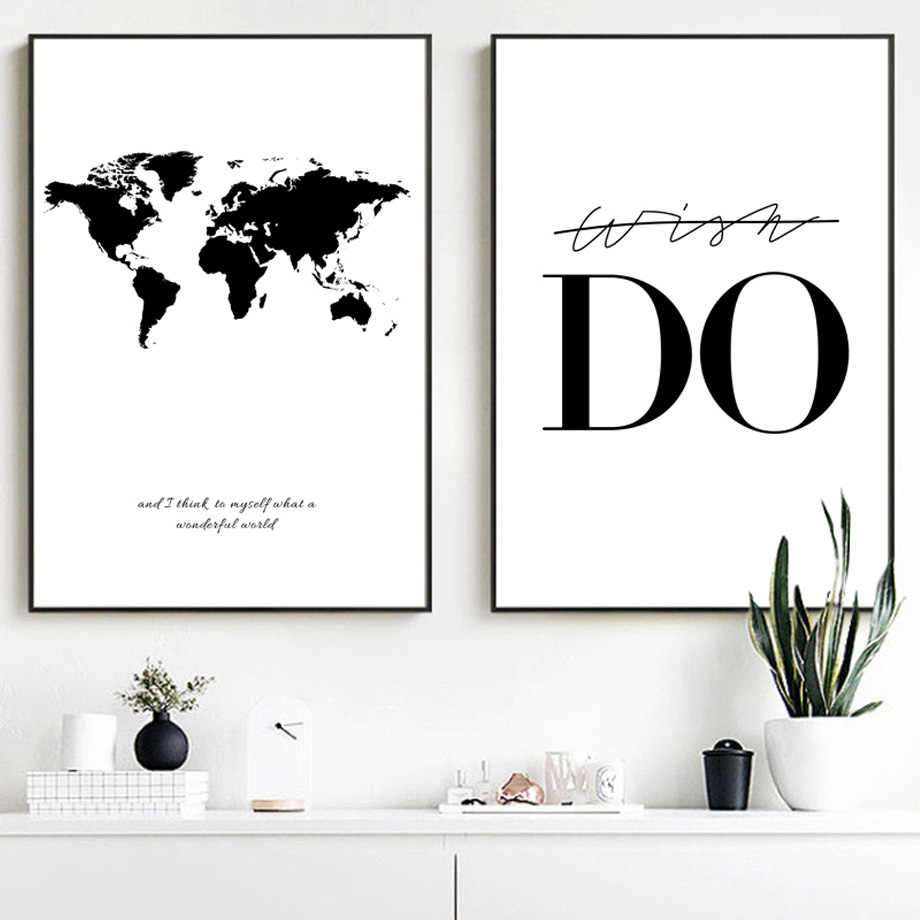 Black White World Map Quotes Nordic Posters And Prints Modern Wall