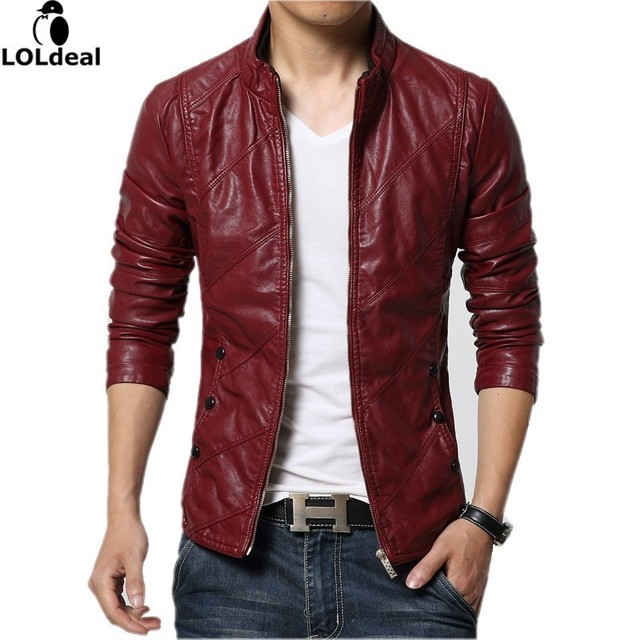 Loldeal New Fashion PU Leather Jacket Men Black Red Brown Solid Mens Faux  Fur Coats Youth