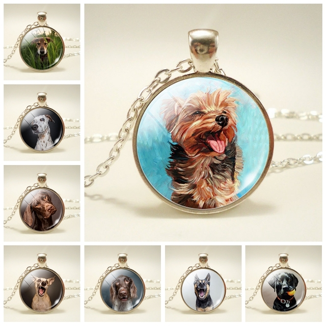 Dog Photo Glass Dome Necklace Silver Plated Statement Chain Pendant Necklace Women Dog Jewelry Dog Lover Gift XG
