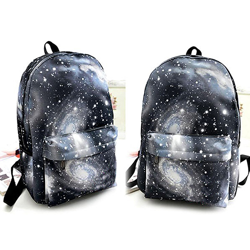 Unisex Galaxy Space Backpack Travel Rucksack Canvas Book Storage School Bag pair of vintage faux gem leaf feather drop earrings for women