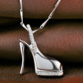 Fashion 2016 Sterling Silver High Heels Pendant Channel Set Cz Diamond Sexy Heels Pendant 925 Silver Pendant VA011