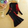 New Vintage Mulheres Cardigans Jacket + Sereia Midi Saia 2 pcs Ternos Grossas de Inverno Padrão De Malha Blusas Saias Ternos 1231