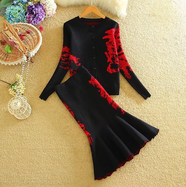 Nuevo Vintage Mujeres Cardigans Chaqueta + Sirena Falda de Midi 2 unids Trajes Invierno Gruesa de Punto Suéteres Patrón Faldas Trajes 1231