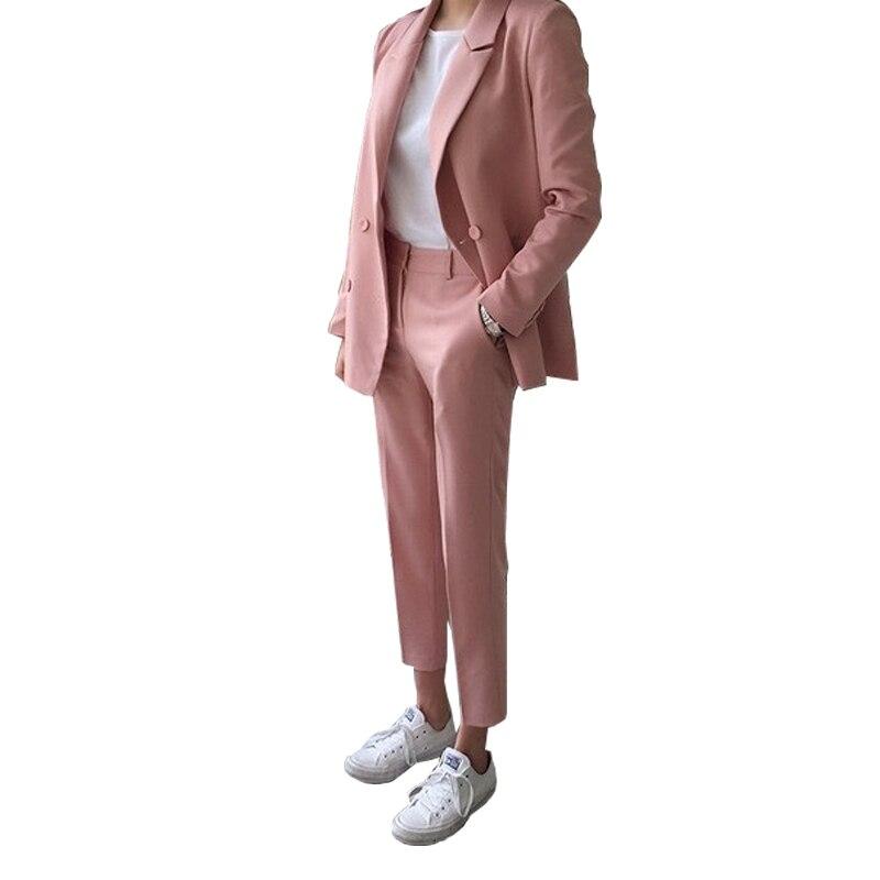 Pantalones Dos Conjuntos 2 Primavera Casual Chaqueta Puntos Pies Doble Mujeres Corea Cintura Alta Las 1 Nueve Otoño 2018 Nueva De Y OdqxZ6H6