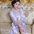 Summer women wrist-length sleeve silk robe bathrobe female sleepwear twinset embroidered nightgown