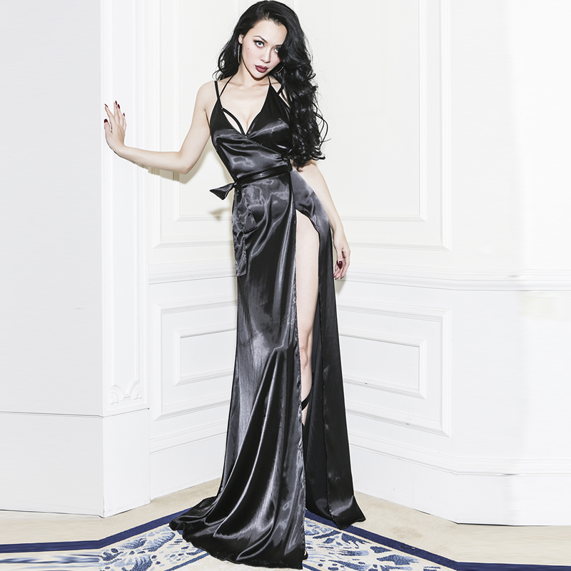 Le Palais Vintage 2017 Summer Y Pajamas Shape Dress Faux Silk Smooth Rayon Spaghetti Strap Backless Long In Dresses From Women S Clothing