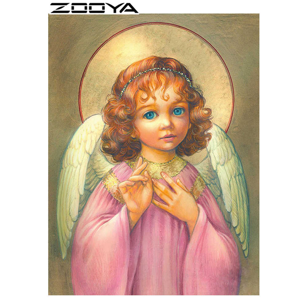 ZOOYA Diamond Embroidery Round Diamond Rhinestone Embroidery Diamond Cross Stitch Religious Angel Girl In A Red Dress Gift R460