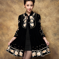 New Design Large Size Women Trench Coat National Style Embroidered Long Coat 4XL 2018 WinterAutumn Casaco Feminino