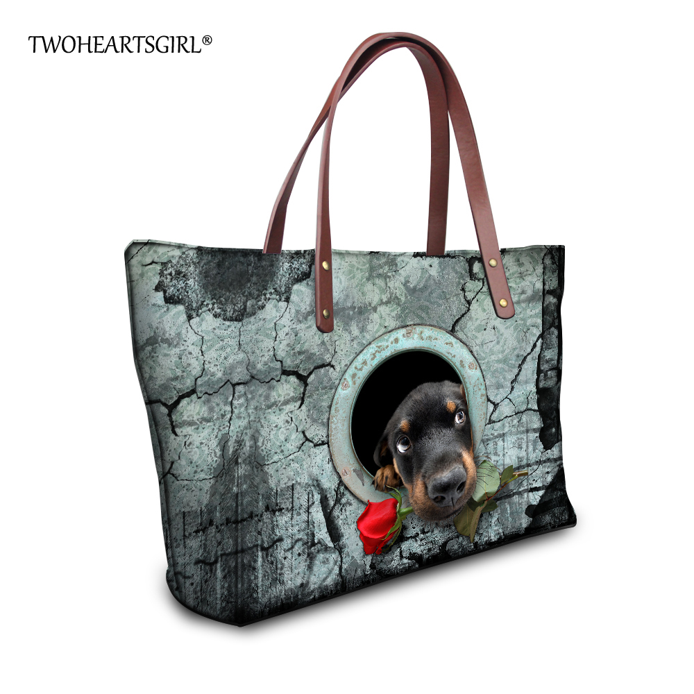 TWOHEARTSGIRL Cute Animal Pet Dog Cat Shoulder Bag for Women Large Size Women Handbags Casual Femme Top-handle Bags Neoprene cute 18 inch animal cat dog printing