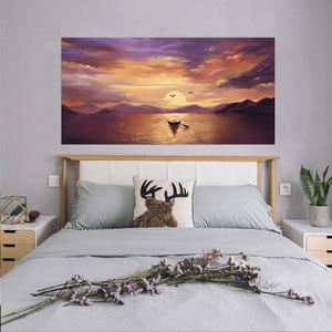 Image 3 - Setting Sun Beautiful Lake Scene Newest Fashion Wall Decal Wholesale Headboard Dorm Decor Bed Frame Vinyl Family Art Sticker
