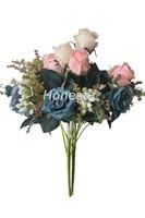 Artificial multi-color Rose de seda falso flores Bouquet, decoración de la boda de la habitación del hotel en casa (azul, púrpura, blanco, rosa)
