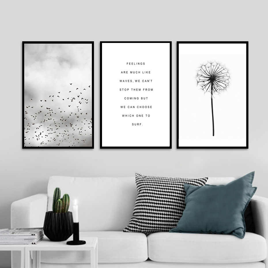 Black White Minimalist Dandelion Canvas Painting Living Room Decoration Flying Birds Wall Picture Text Art Poster Home decor
