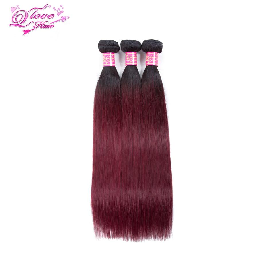Queen Love Hair Pre-colored Malaysia Ombre Straight Hair 100% Human Hair 3 Bundles With Closure 1B/99J Non Remy Hair