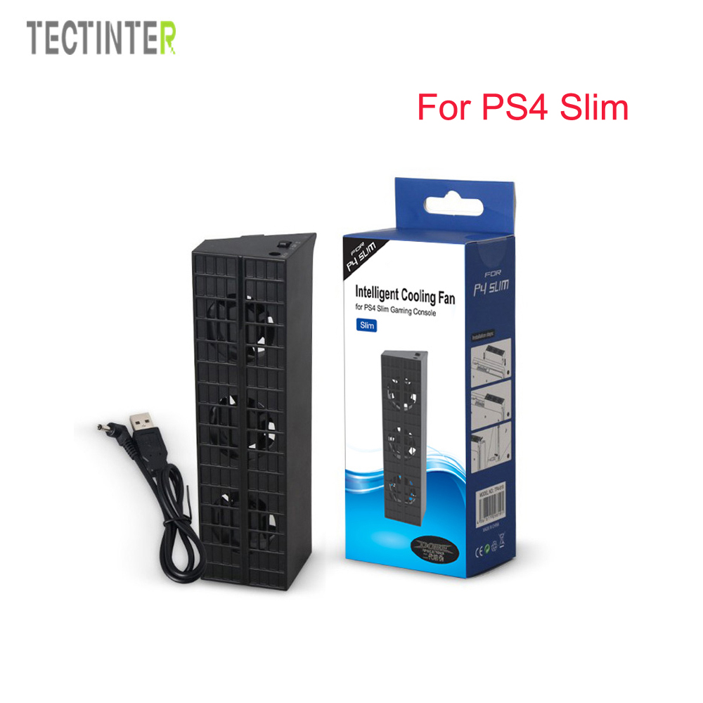 For PS4 slim Cooler,Cooling Fan For PS4 slim USB External 5-Fan Super Turbo Temperature Control For Playstation 4 slim Console